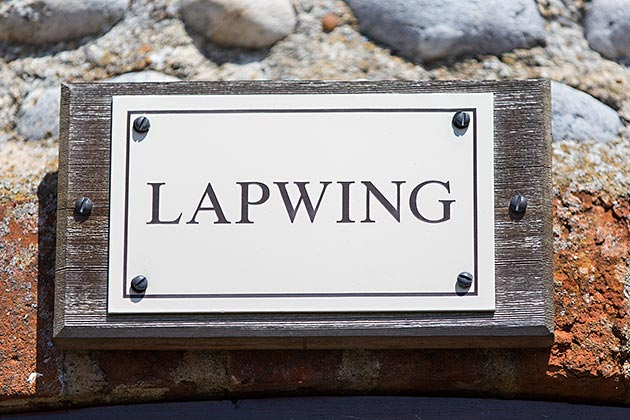 Lapwing Cottage's name plate