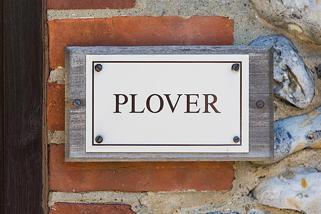 Plover Cottage's name plate