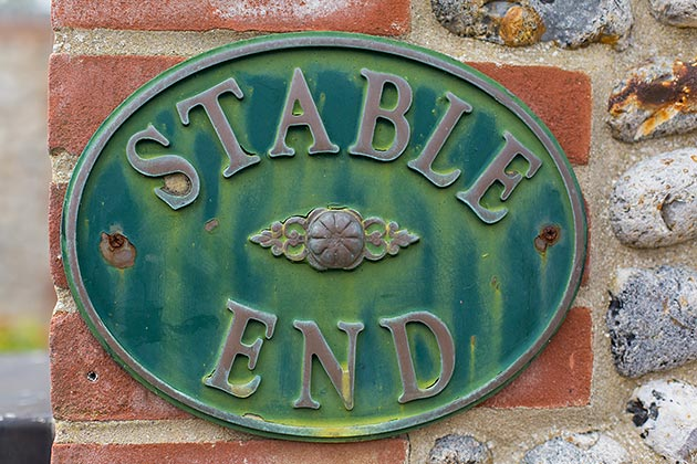 Stable End Cottage's nameplate