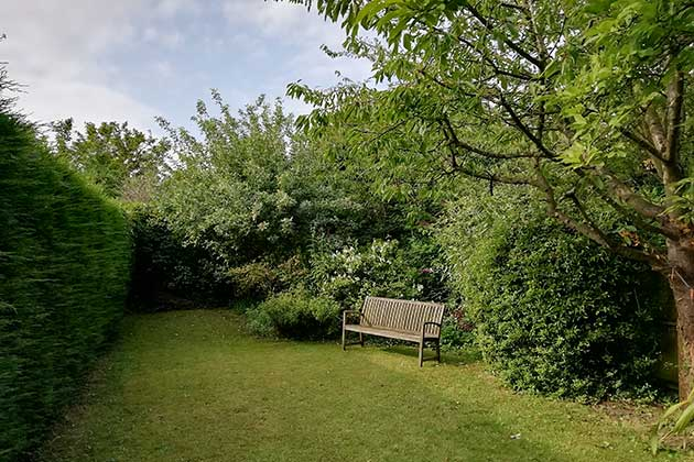 Driftwood Cottage's back garden, view south from outhouse