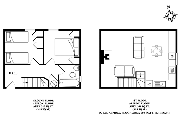 Lapwing Cottage's floor plans