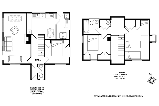 Narroogal Cottage's floor plans