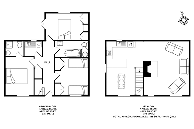 Old Flint Barn Cottage's floor plans
