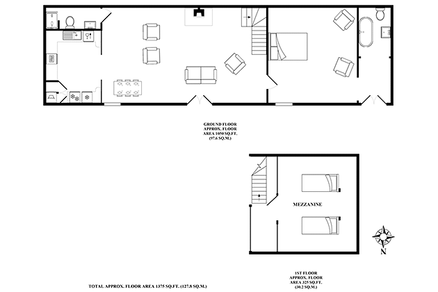 Rosedale Barn Cottage's floor plans
