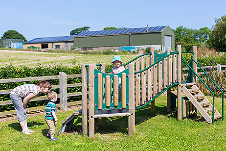 Toddlers and mum on and around toddler climbing frame