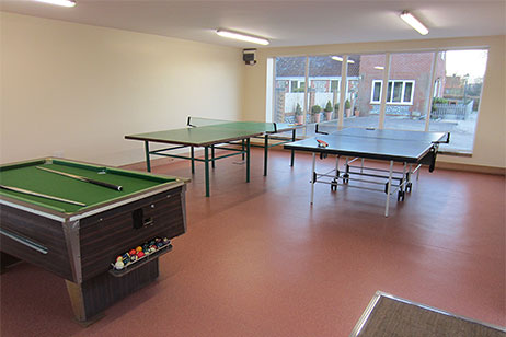 Mini snooker table and table tennis tables, games room
