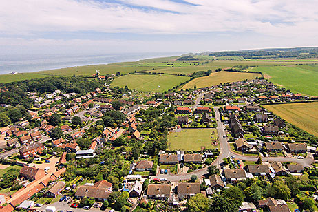 Aerial view over Weybourne towards Sheringham